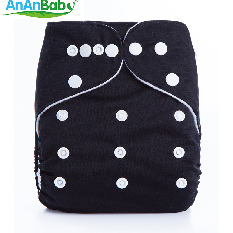 AnAnBaby 1pcs/lot Breathable Cloth Diapers Solid Color Baby Nappy Reusable Baby Diaper One Size 0-3 Years Kawaii Nappies