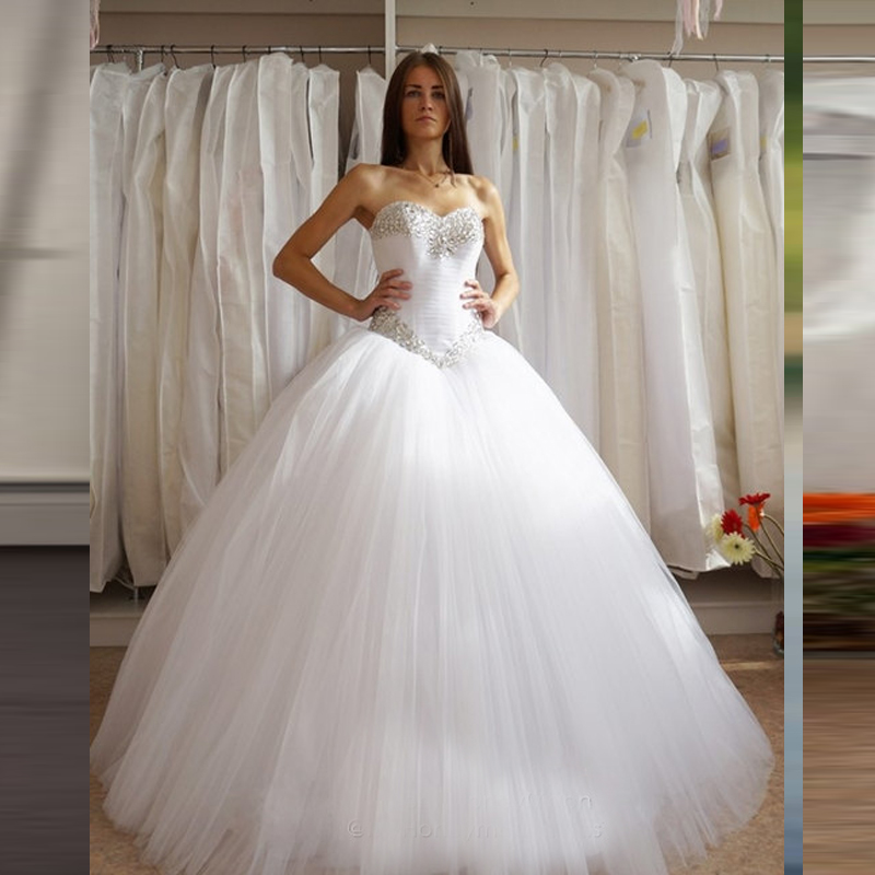 Sweetheart custom made ivory white tulle big puffy ball for Diamond sweetheart wedding dress
