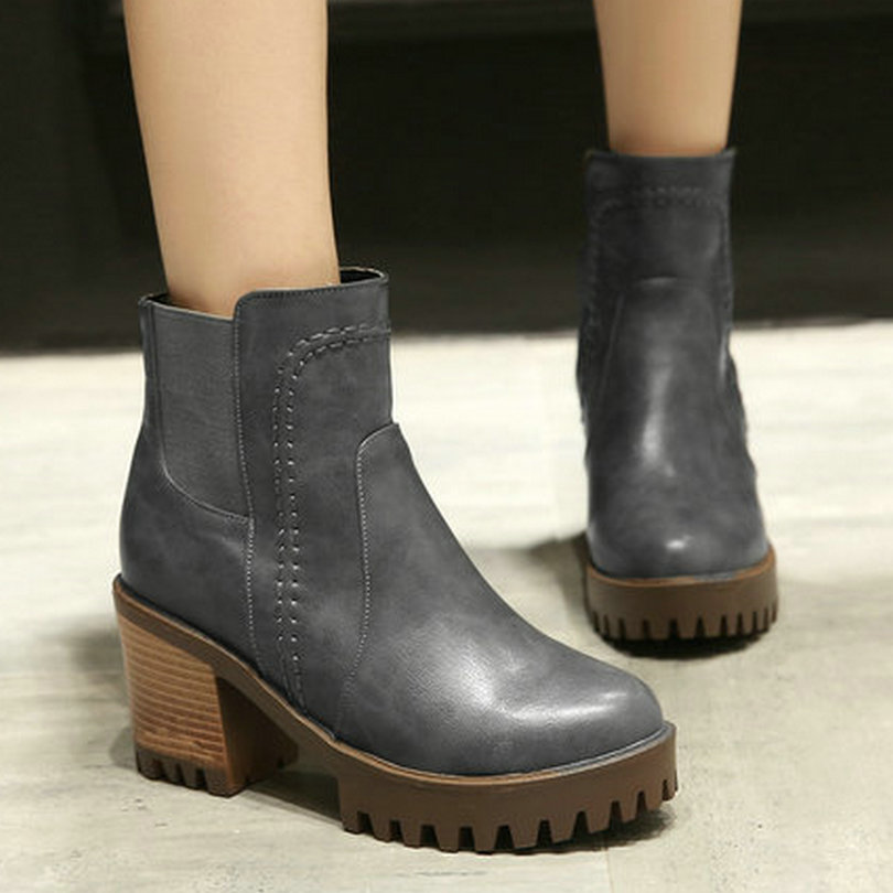 Plus Size 34-43 British Style Ankle Boots Autumn Women Shoes Thick High-Heel Fashion Boots 2016 Round Toe Ladies Short Boots