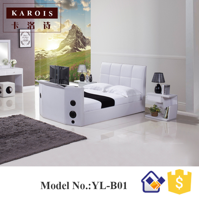 2017 Special Design Leather Double Cot Bed Models Functional Hifi ...