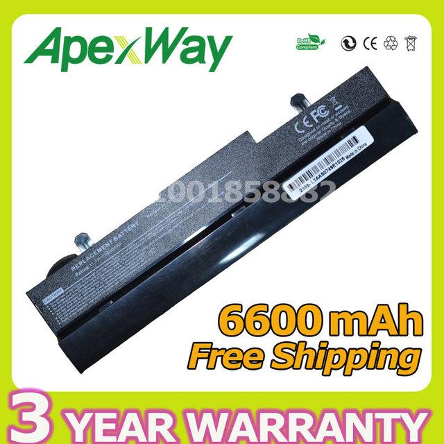 Apexway bateria do portátil de 9 células para asus eee pc 1001ha eeepc 1005 1005ha al31-1005 al32-1005 ml32-1005 pl32-1005-90-90 oa001b9000