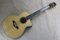 Одежда высшего качества одноцветное народная chaylor 914ce BurlyWood Акустическая гитара реального оболочки мозаика тело эбони Гитары 14815