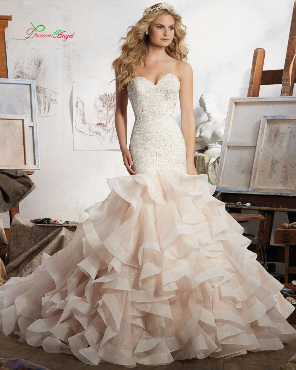 Trumpet Wedding Dresses With Ruffles : Ruffles mermaid wedding dress luxury appliques ruched trumpet