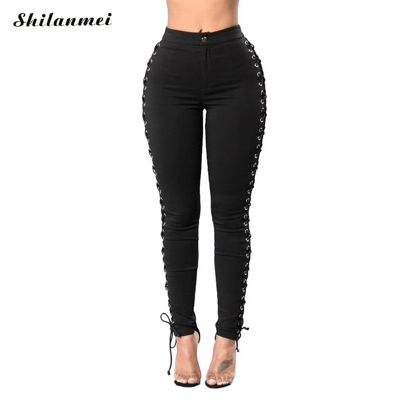 2017 sexy ripped jeans women pants cool denim vintage lace-up straight skinny  jeans for - Online Buy Wholesale Ripped Skinny Jeans For Girls From China