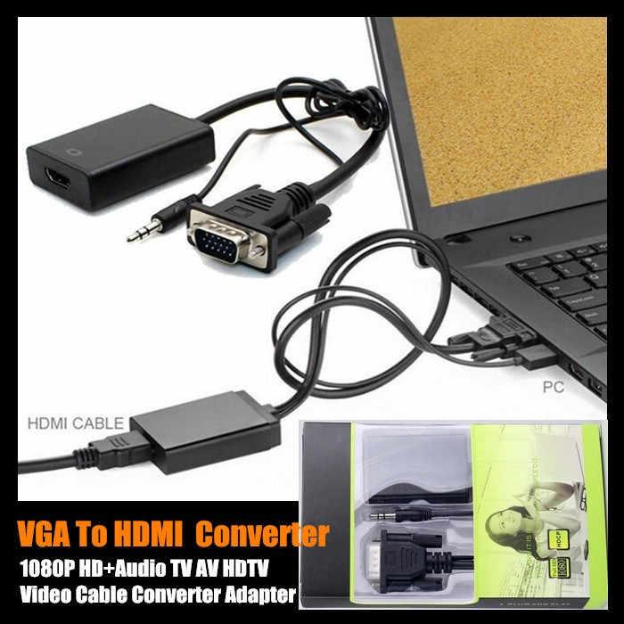 10 cái! 2015 Hàng Mới Về VGA Sang HDMI Đầu Ra 1080P HD + Âm Thanh TV AV HDTV Cáp Video Converter Bộ Chuyển Đổi, có Hộp Bán Lẻ