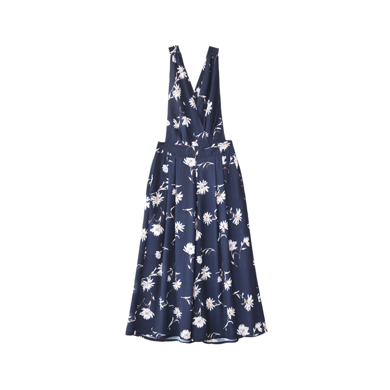 Dabuwawa Women Print Jumpsuits Rompers Fashion V Neck Floral Casual Calf Length Wide Leg Strap Jumpsuits Overalls D18BRT008 in Jumpsuits from Women 39 s Clothing