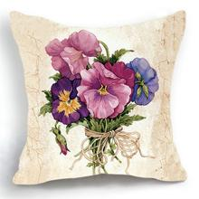 Maiyubo Luxury Flower Vase Cushion Cover Pillowcase font b Bed b font Car Hotel Print White