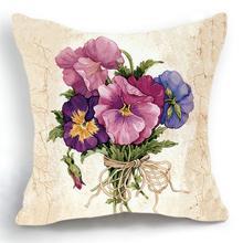 Maiyubo Luxury Flower Vase Cushion Cover Pillowcase Bed Car Hotel Print White Plant Home Decor Sofa Vintage Modern Cushion PC203