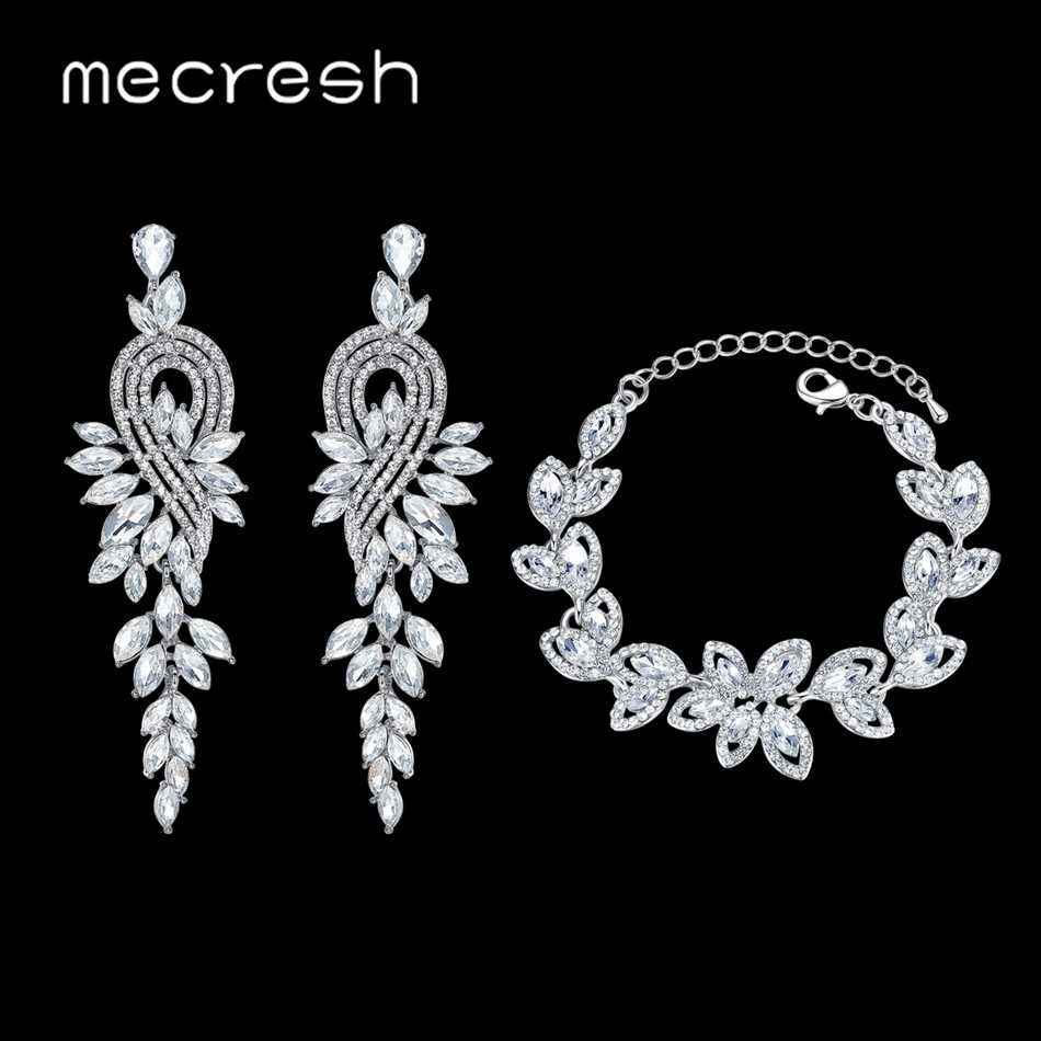 Mecresh Silver Color Bridal Jewelry Sets Rhinestone Floral Wedding Earrings Bracelet Sets Women Wedding Accessories EH946+SL046