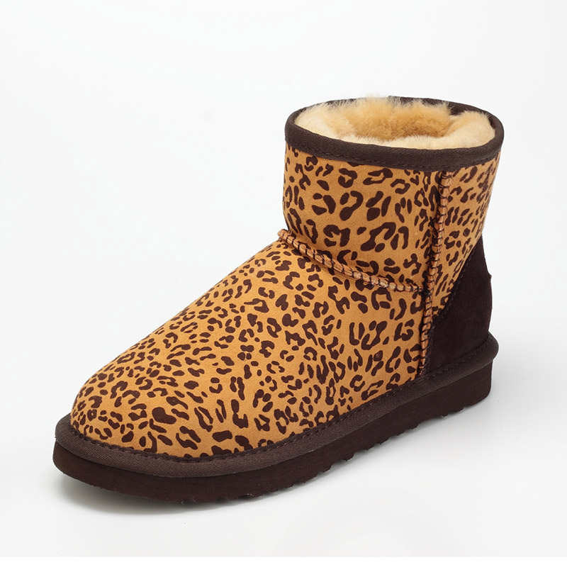 2017 Australia Natural sheep fur one snow boots Women's Short Boots/ Winter Thick Warm Leopard grain Flat Boots/Free shipping