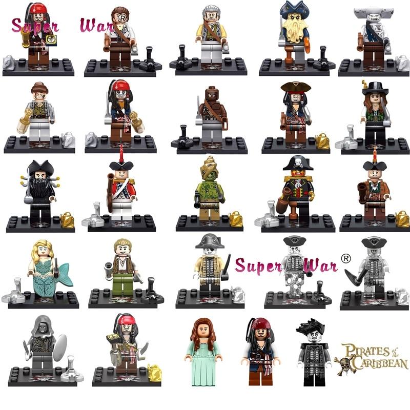 20pcs Captain Pirates of The Caribbean Jack Sparrow Elizabeth Mermaid David Jones Maccus building blocks bricks models baby toy