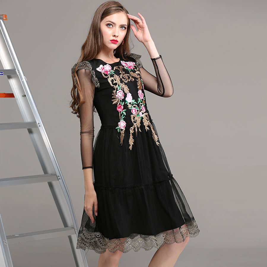Vintage Mesh Knee Length Women Dresses Summer 2018 Fashion Full Sleeve Rose Embroidery High Quality Slim Black Runway Dress