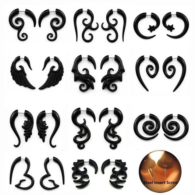Acrylic Wild Tribe Style Piercings Fake Spiral Ear Earring