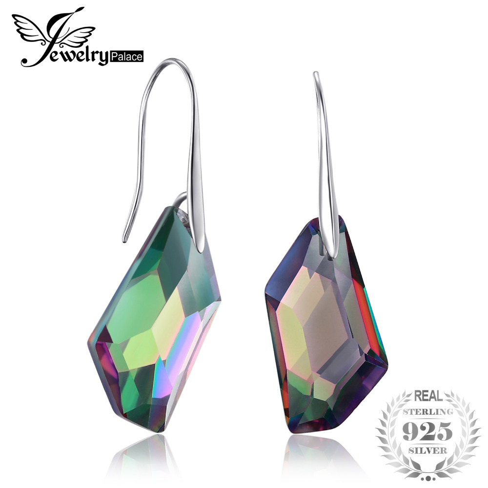 800c490ea Fancy Cut 27ct Genuine Gem Stone Natural Rainbow Fire Mystic Topaz Dangle  Earrings Drop Real Solid