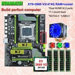 Sprzęt komputerowy DIY HUANANZHI X79 Pro płyta główna z podwójnym gniazdem M.2 nvme ssd procesor intel xeon E5 2660 V2 6 rurek cooler RAM 16G (4*4G) w Płyty główne od Komputer i biuro na