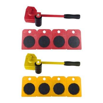5 pièces/ensemble de Transport mobile de meubles 4 rouleau de moteur + 1 barre de roue 2