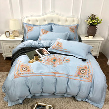 Light Blue 60S Egyptian Cotton Luxury Gold Royal Embroidery Exotic Bedding Set Duvet Cover Bed Sheet Linen Pillowcases 4pcs