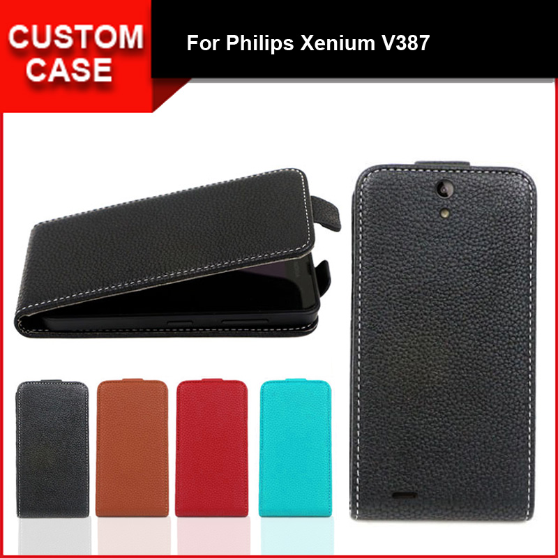 Luxury flip vertical cover bag flip up and down PU Leather Case for Philips Xenium V387, free gift image