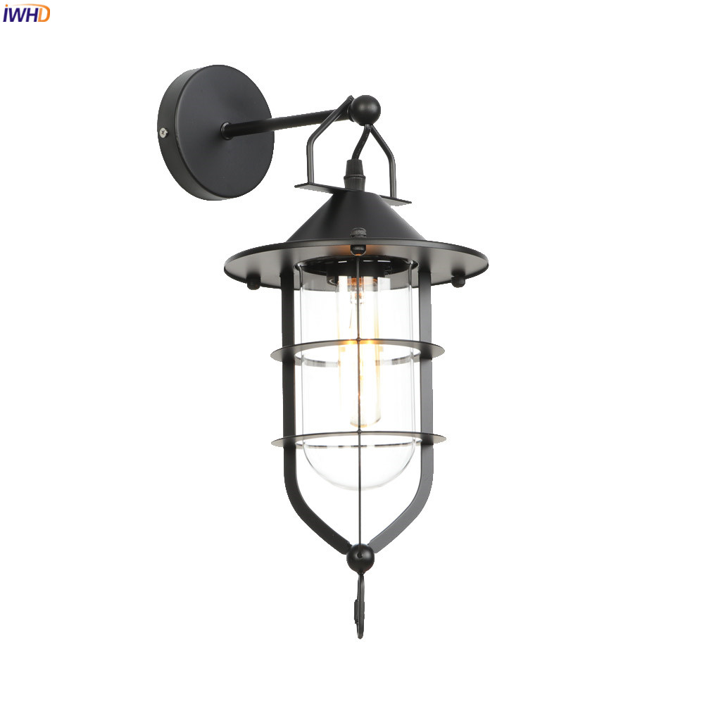 IWHD American Country Glass LED Wall Light Fixtures Hallway Stair Porch Loft Industrial Decor Wall Lamp Vintage Wandlamp EdisonIWHD American Country Glass LED Wall Light Fixtures Hallway Stair Porch Loft Industrial Decor Wall Lamp Vintage Wandlamp Edison