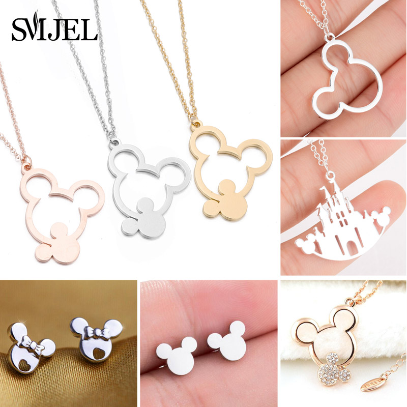 SMJEL Minnie Mickey Jewelry Mickey Necklaces for Women Girls Stainless Steel Cute Animal Pendant Necklace Kids Accessories
