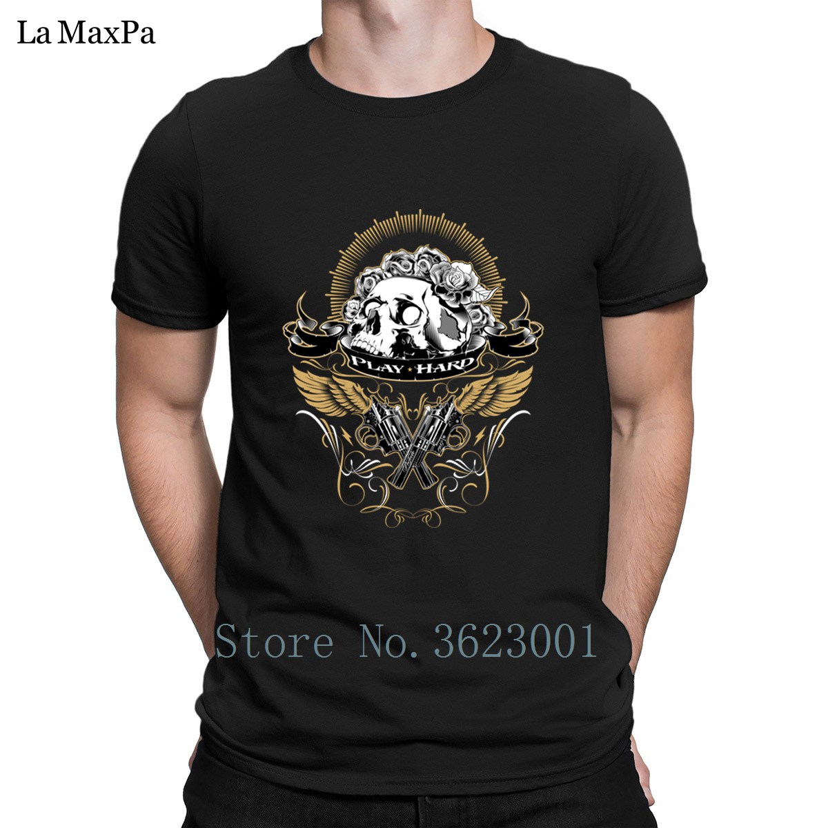 Creative Stylish T Shirt For Men Guns And Roses Tee Shirt Man Summer T-Shirt Branded Men Tshirt Big Sizes Cheap