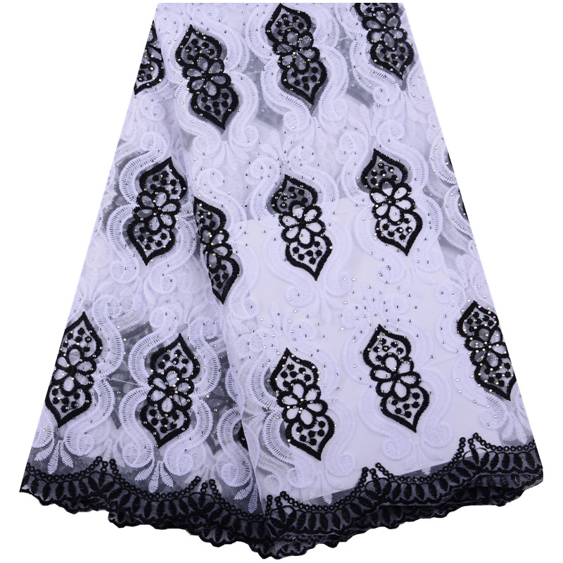 White Black African Milk Lace Fabric 2019 High Quality French Mesh Lace Fabric Stones Nigerian Milk