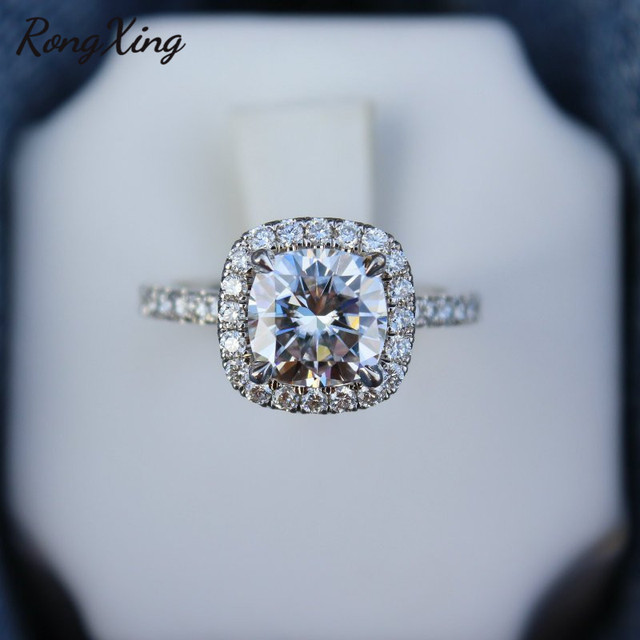 RongXing 925 Silver White Zircon Engagement Rings for Women Wedding Jewelry Square Crystal Stone Ring Female Luxury Accessory