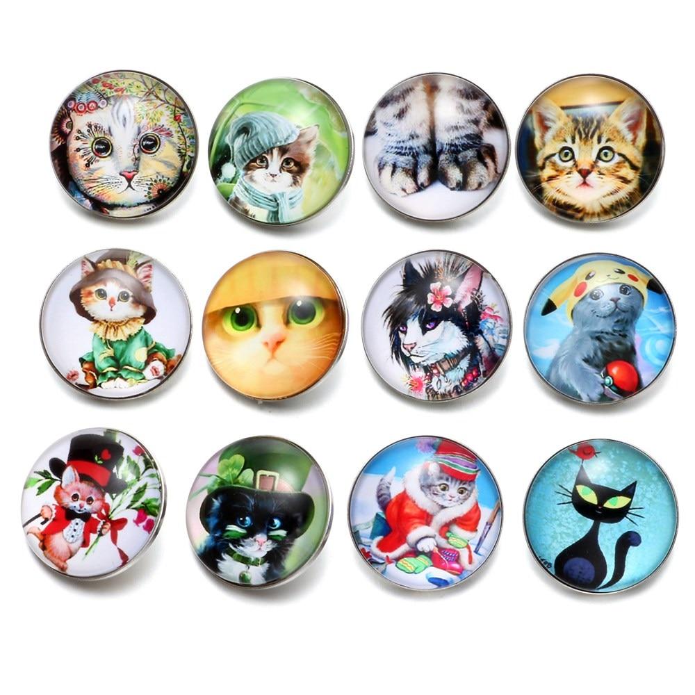 12pcs/Lot Cute Cat Pattern Glass Charm 18mm Snap Button Jewelry For 18mm Snaps Bracelet Snap Jewelry KZ0503
