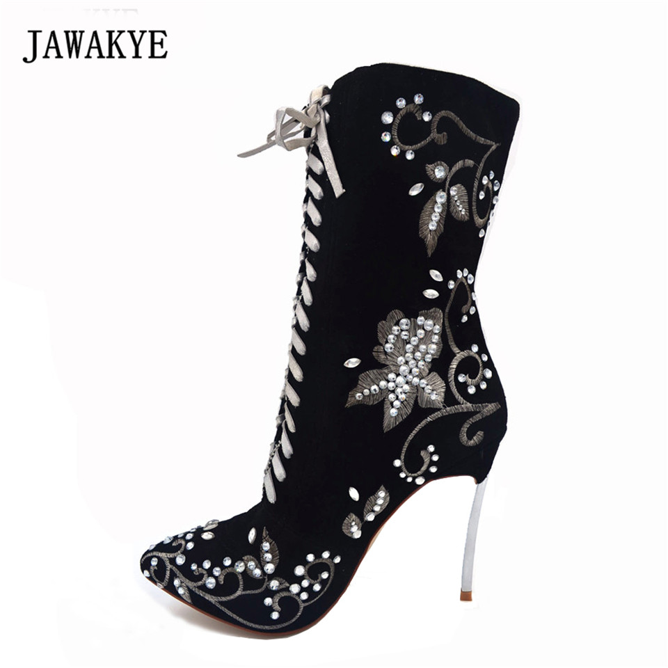 JAWAKYE Hot stamping diamond Lace up Mid Calf Boots Women Point Toe Embroidered Crystal Fashion Metal High Heels Shoes Booties hot sale women shoes lace up round toe mid calf boots for women fashion print floral embellished denim shoes retro femme boots