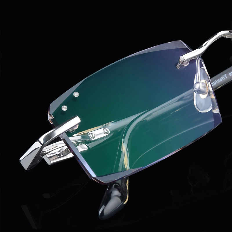 5330f74291 Luxury Quality Titanium Eyeglasses Men Rimless Frame+1.61 Lenses Female Myopic  Glasses Presbyopic Glasses