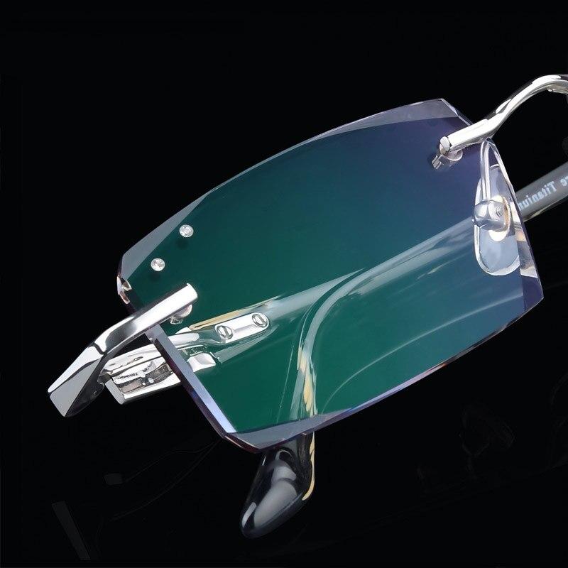 Luxe qualité titane lunettes hommes sans monture cadre + 1.61 lentilles femme myope lunettes/presbyte lunettes oculos de grau 3001