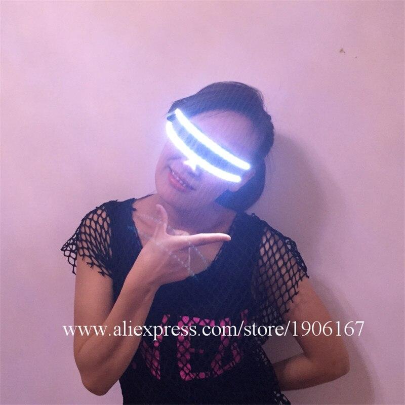 ▻Nueva llegada LED Gafas color blanco luminoso Gafas escenario para ...