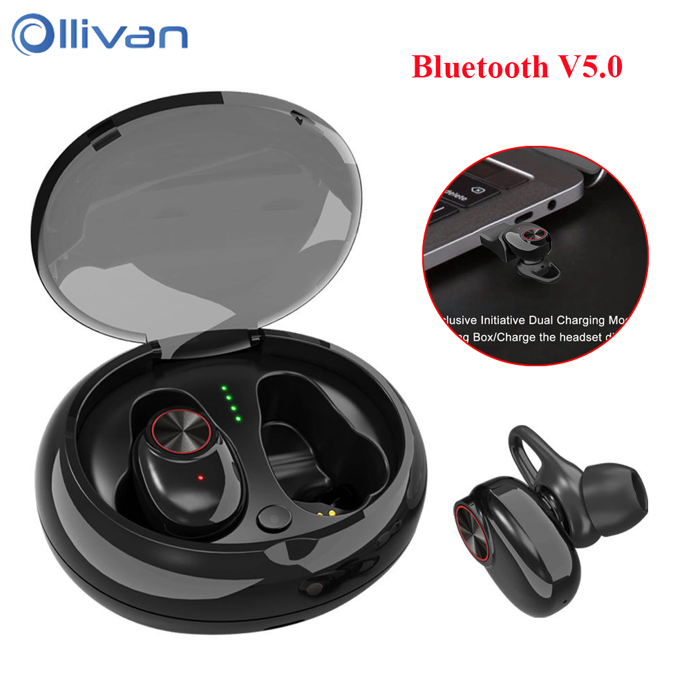 V5 TWS V5.0 Bluetooth Earphones for phone In Ear Earpiece 2 Charging Modes Mini True Wireless Stereo Headset with Charging box mini twins true wireless bluetooth earphones in ear stereo tws v4 1 bluetooth headset hands free with mic charging box for phone
