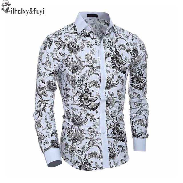 Элитный бренд Рубашки для мальчиков для Для мужчин Мода 2017 г. печатных тонкий рубашка с длинными рукавами для Обувь для мальчиков CHEMISE Homme Повседневное Camisas Hombre