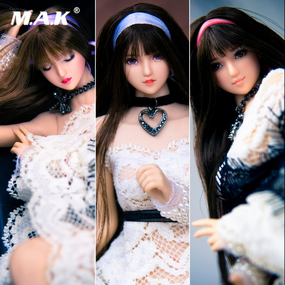 1/6 Escala SNH 48 Nihon Junjo Kenji Densa cabeça Qi Liuhai cabelo preto menina Cabeça Sculpt 12