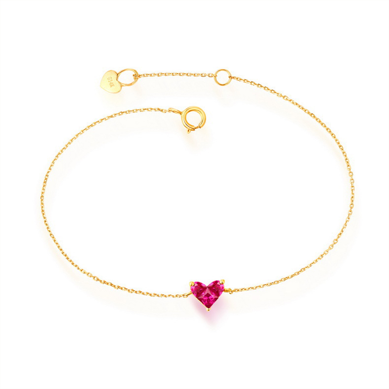 цена на ANI 14K Yellow Gold Women Bracelet Heart Shape Red Corundum Fine Gemstone Jewelry for Women Romantic Engagement Bracelet Gift