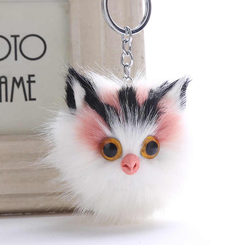 LNRRABC charme único keychain do gato fluffy pele de neve chaveiro chave do carro cadeia saco bonito pingente de pelúcia macia