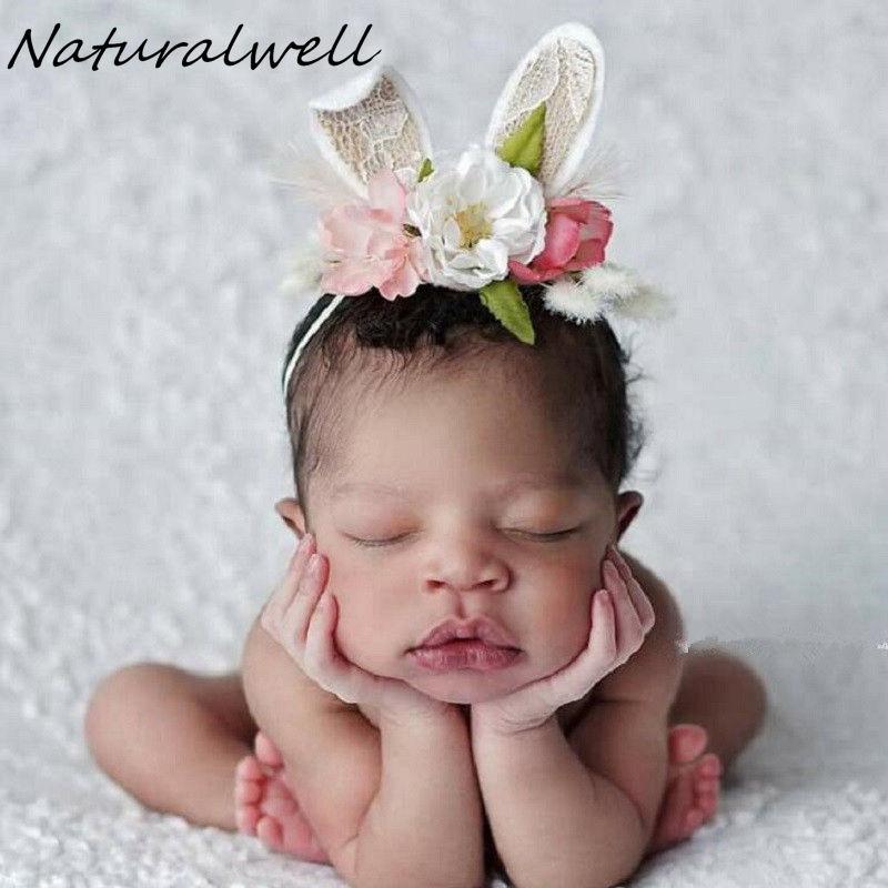 Baby Girls Kids Flower Crown Elastic Rabbit Bunny Ears Headband Hair Accessories