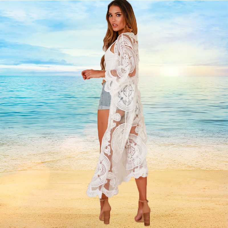 Beach Beachwear Saida De Praia Summer Cape On The Tunics Bikini Cover Up Dress For Women 2019 Loose Lace White Female Animal