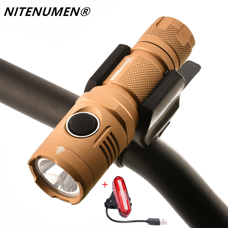 NITENUMEN USB Rechargeable 1060 lumen LED Bicycle Front Light MTB Bike Flashlight Lamp Built-in Battery + Rear Light
