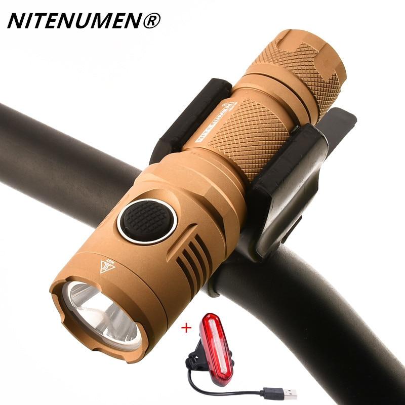 купить NITENUMEN USB Rechargeable 1060 lumen LED Bicycle Front Light MTB Bike Flashlight Lamp Built-in Battery + Rear Light по цене 4385.84 рублей