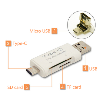Universal 3 in1 OTG Type-C Card Reader USB 3.0 USB A Micro USB Combo to 2 Slot TF SD Type C Card Reader for Smartphone PC