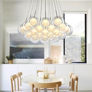 Image 3 - نجفة حديثة بإضاءة LED مصباح كرة زجاجي إسكندنافي مصابيح معلقة لغرفة المعيشة ديكورات منزلية لغرفة الطعام تركيبات لغرفة النوم