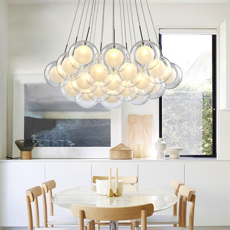 Moderna iluminação led lustre nordic bola de vidro lâmpada sala estar pendurado luzes casa deco sala jantar quarto luminárias - 3