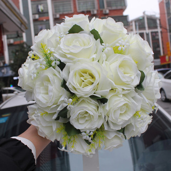 Biała róża bukiet ślubny De Mariage kwiaty ślubne bukiety ślubne sztuczne bukiety ślubne akcesoria ślubne tanie i dobre opinie Poliester FW2019A LBKKC DRESSES