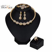 MUKUN NEW Exquisite Nigerian Wedding Jewelry set Women Costume Dubai Gold Set African Beads wholesale Design