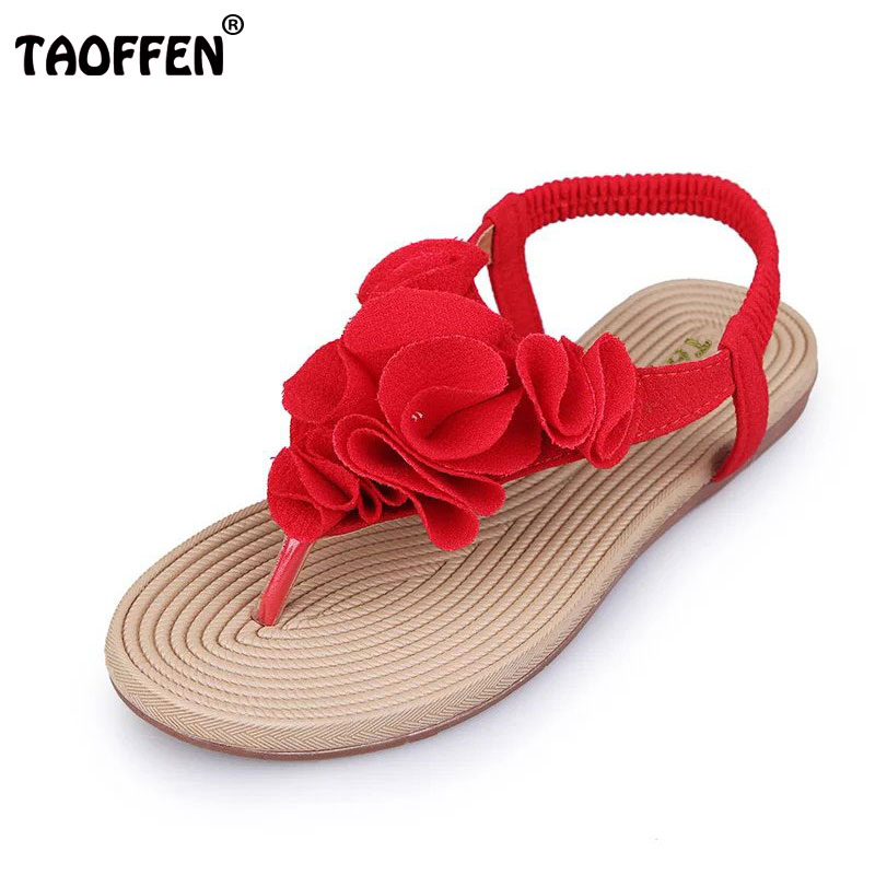 TAOFFEN Summer Women Sandals Flip Flats Flower Sample Slip On Leisure Shoes Women Solid Fashion Sandal Footwear Size 36-40 pink vietnam sandals flats female summer outdoor leisure shoes