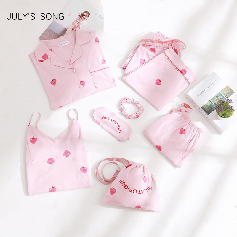 JULY'S SONG Pink Cotton Women 7 Pieces Pajamas Sets Women  Pajamas Sleepwear Sets Spring Summer Autumn Homewear Top And Shorts