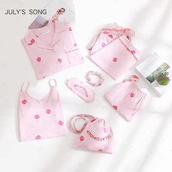 JULY'S SONG Pink Cotton Women 7 Pieces Pajamas Sets Women  Pajamas Sleepwear Sets Spring Summer Autumn Homewear Top And Shorts - DISCOUNT ITEM  30% OFF All Category
