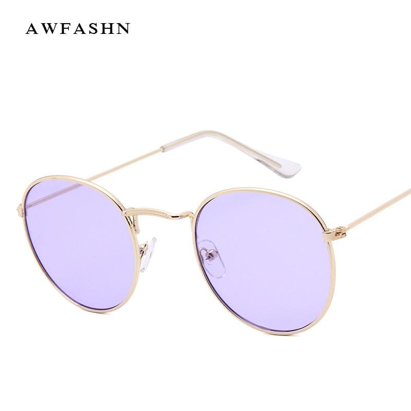 2019 New Fashion High Quality Metal Frame Sunglasses Men Women Round Sun Glasses  mirrored coating Brand Designer Big Shade